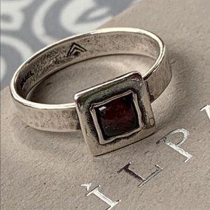 SILPADA Hammered Sterling Silver Garnet Ring